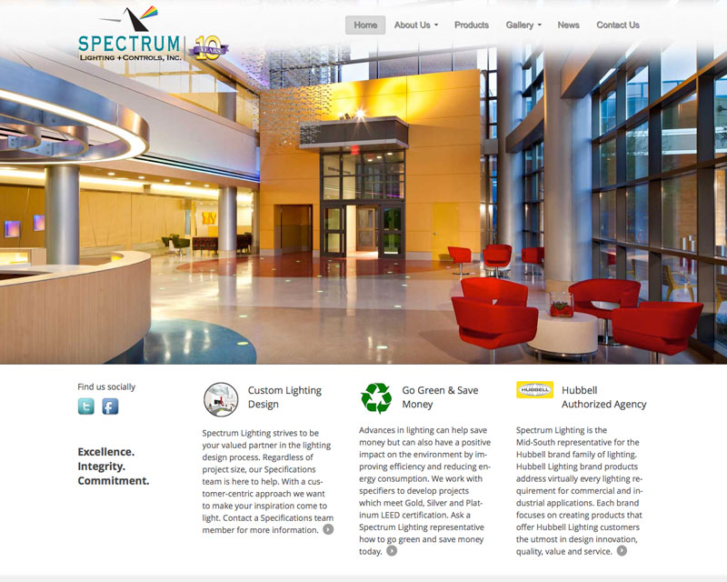spectrum lighting of memphis website redesign